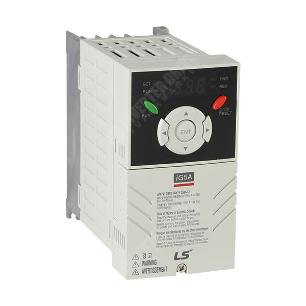 Photo of LS Starvert iG5A 0.37kW 230V 1ph to 3ph AC Inverter Drive, Unfiltered